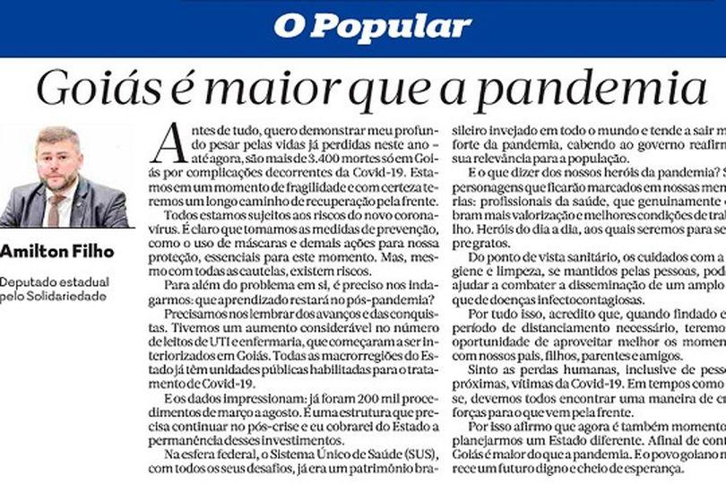 """Em artigo no jornal O Popular, Amilton Filho destaca: """"Goiás é maior que a pandemia"""""""